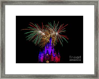 Christmas Colored Disney Fireworks Framed Print by Darcy Michaelchuk