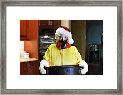 Christmas Dinner Disaster With Hazmat Suit Framed Print by Karen Foley