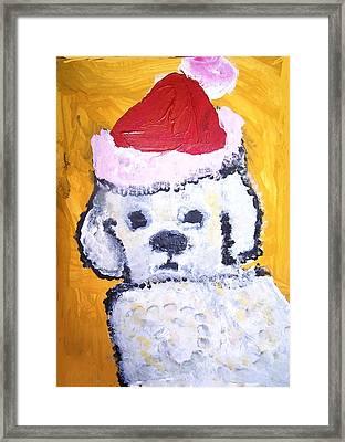 Christmas Dog Framed Print by Rae Ann Anel