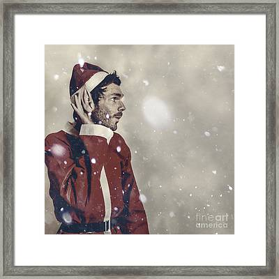 Christmas Elf Hearing In The New Year Celebrations Framed Print by Jorgo Photography - Wall Art Gallery