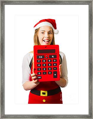 Christmas Girl Calculating Holiday Savings Framed Print by Jorgo Photography - Wall Art Gallery