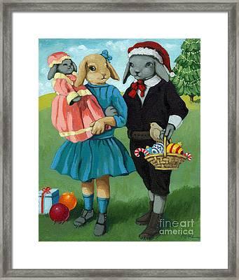 Christmas Greetings From Appletree Hollow - Animal Art Framed Print by Linda Apple