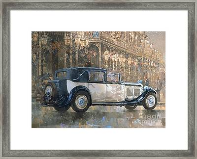 Christmas Lights And 8 Litre Bentley Framed Print by Peter Miller