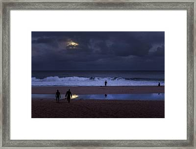 Christmas Moon Setting Over Pipeline Framed Print by Sean Davey