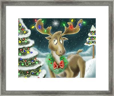 Christmas Moose Framed Print by Hank Nunes