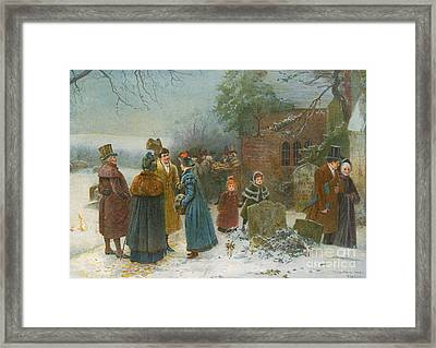 Christmas Morning  Neighbourly Greetings, And Doles To The Poor And Needy Framed Print by Edward Frederick Brewtnall