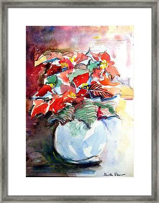 Christmas Poinsettia Framed Print by Mindy Newman