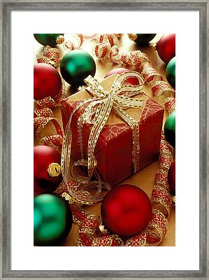 Christmas Present And Ornaments Framed Print by Garry Gay