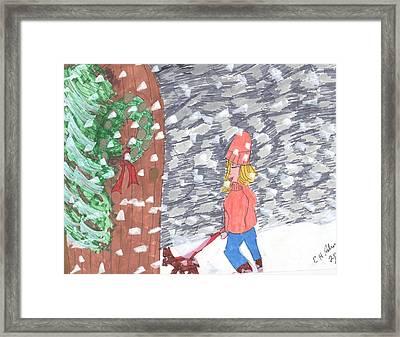 Christmas Snow Framed Print by Elinor Rakowski