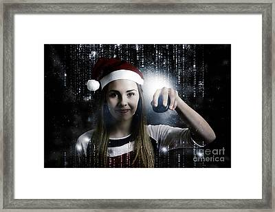 Christmas Technology Woman Shopping Online Framed Print by Jorgo Photography - Wall Art Gallery