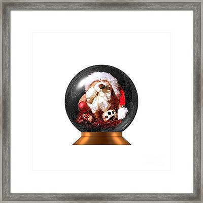 Christmas Teddy Snow Globe On A Transparent Background Framed Print by Terri Waters