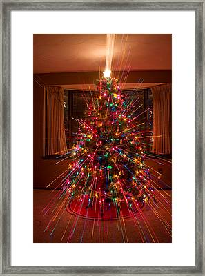 Christmas Tree Light Spikes Colorful Abstract Framed Print by James BO  Insogna