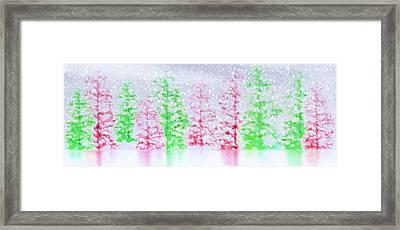 Christmas Trees In Snow Framed Print by Steve Ohlsen