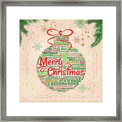 Christmas Words Ornament Framed Print by Bedros Awak