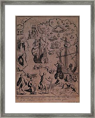 Christopher Colombus Discovering The Islands Of Margarita And Cubagua Where They Found Many Pearls Framed Print by Spanish School