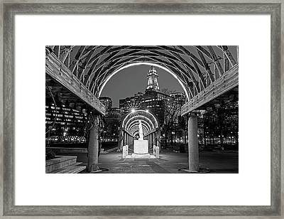 Christopher Columbus Park Boston Ma Trellis Statue Black And White Framed Print by Toby McGuire