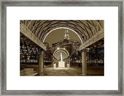 Christopher Columbus Park Boston Ma Trellis Statue Sepia Framed Print by Toby McGuire