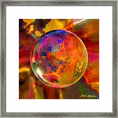 Chromatic Floral Sphere Framed Print by Robin Moline