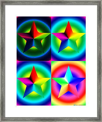 Chromatic Star Quartet With Ring Gradients Framed Print by Eric Edelman