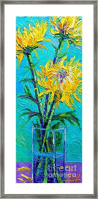 Chrysanthemums In A Vase Framed Print by Mona Edulesco