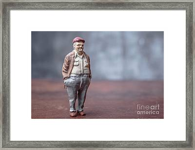 Chubby Man Smoking A Cigar Framed Print by Edward Fielding