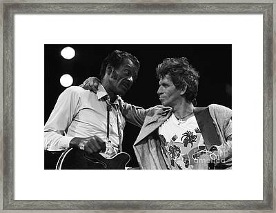 Chuck Berry And Keith Richards Framed Print by Terry O'Neill