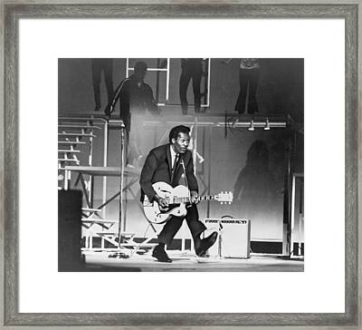 Chuck Berry B. 1926 On Stage, Playing Framed Print by Everett