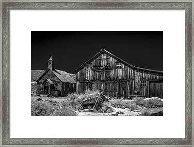 Church And Barn Framed Print by Cat Connor