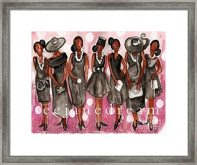 Church Lady Black Dress Framed Print by Janie McGee