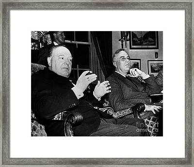 Churchill & Roosevelt Framed Print by Granger