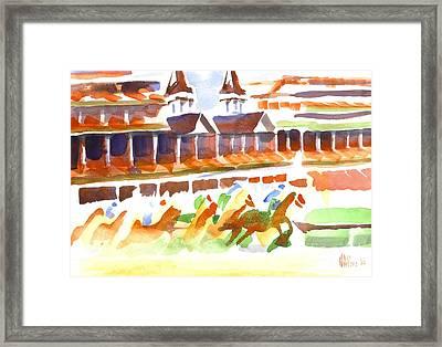 Churchill Downs Watercolor Framed Print by Kip DeVore