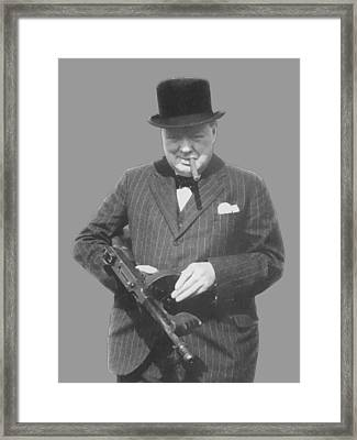 Churchill Posing With A Tommy Gun Framed Print by War Is Hell Store