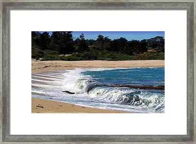 Churning Surf At Monastery Beach Framed Print by Joyce Dickens
