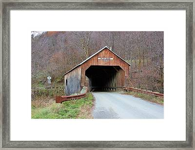 Cilley Covered Bridge Framed Print by Wayne Toutaint