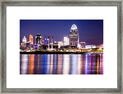 Cincinnati At Night Downtown City Buildings Framed Print by Paul Velgos
