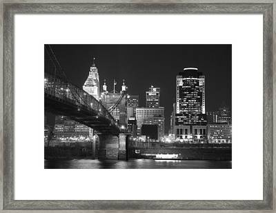 Cincinnati At Night Framed Print by Russell Todd