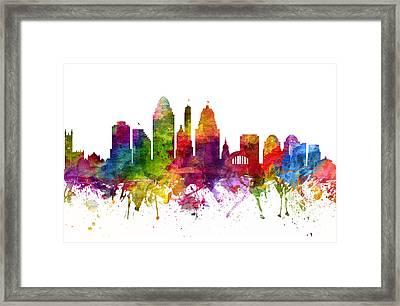 Cincinnati Cityscape 06 Framed Print by Aged Pixel