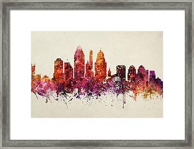 Cincinnati Cityscape 09 Framed Print by Aged Pixel