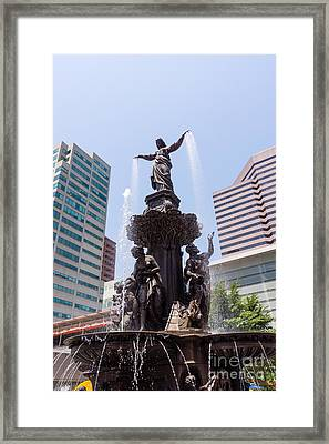 Cincinnati Fountain Tyler Davidson Genius Of Water Framed Print by Paul Velgos