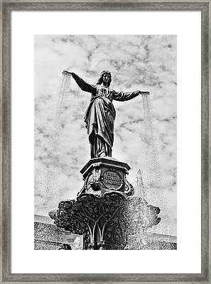 Cincinnati Fountain Tyler Davidson Genius Of Water Statue Framed Print by Paul Velgos
