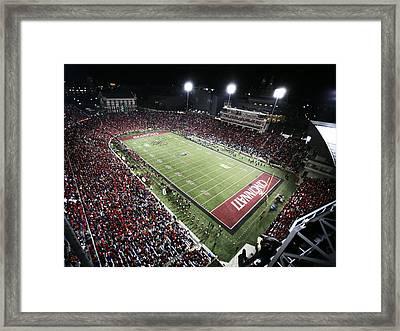Cincinnati Nippert Stadium The Home Of Bearcat Football Framed Print by University of Cincinnati