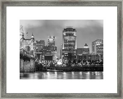 Cincinnati Ohio At Night In Black And White Framed Print by Gregory Ballos