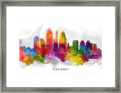 Cincinnati Ohio Cityscape 13 Framed Print by Aged Pixel