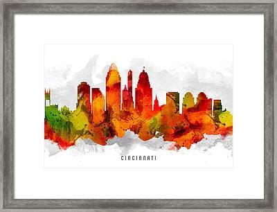 Cincinnati Ohio Cityscape 15 Framed Print by Aged Pixel