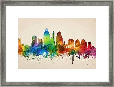 Cincinnati Ohio Skyline 05 Framed Print by Aged Pixel