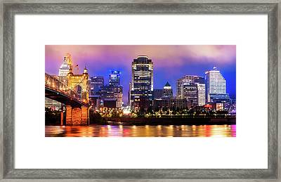 Cincinnati Ohio Skyline Panorama Framed Print by Gregory Ballos