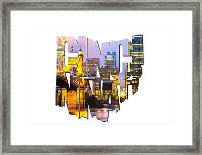 Cincinnati Ohio Typography - Cincinnati Skyline And The John A. Roebling Suspension Bridge Framed Print by Gregory Ballos