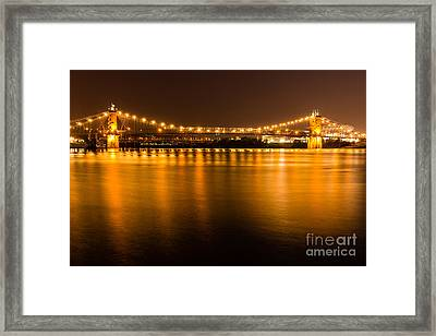 Cincinnati Roebling Bridge At Night Framed Print by Paul Velgos