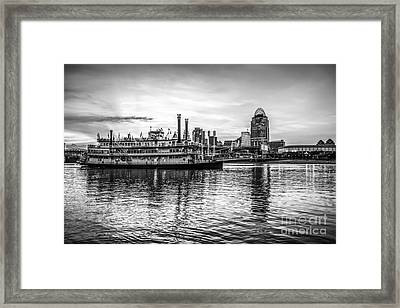 Cincinnati Skyline And Riverboat In Black And White Framed Print by Paul Velgos