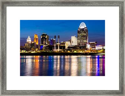 Cincinnati Skyline At Night  Framed Print by Paul Velgos